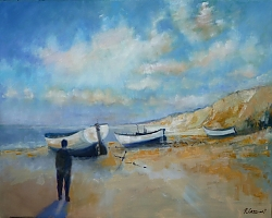 Oil |80x100cm |Dunwich beach, Suffolk | © Copyright 2013 Roger Dell Seddon