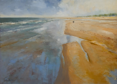 <h3>Holkham Beach, North Norfolk</h3> | © Copyright 2020 Roger Dell Seddon | Oil |76 x 102cm