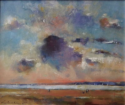 <h3>Evening walk with Toby</h3> | © Copyright 2020 Roger Dell Seddon | Oil |30cm x 36cm