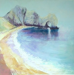 Mixed media oil/acrylic | |Durdle Door from below Swyre Head | © Copyright 2013 Roger Dell Seddon