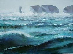 oil | |Heavy sea off Old Harry | © Copyright 2013 Roger Dell Seddon