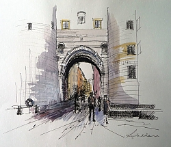 pen, ink and watercolour | |The old city gate, Lucca | © Copyright 2013 Roger Dell Seddon