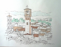 pen, ink and watercolour | |Bell Towers, Lucca | © Copyright 2013 Roger Dell Seddon