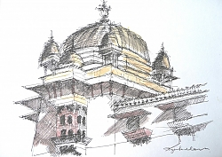 pen, ink and watercolour | |Domed Pavilion, Jahangari Mahal, Orcha | © Copyright 2013 Roger Dell Seddon