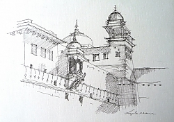 pen and ink | |Amber Fort, Jaipur | © Copyright 2013 Roger Dell Seddon