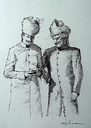 Pen and ink | |City Palace Guards, Jaipur | © Copyright 2013 Roger Dell Seddon
