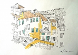 Pen, ink and watercolour | |Amphitheatre rooftops, Lucca | © Copyright 2013 Roger Dell Seddon