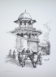 pen and ink | |Ox cart, Agra | © Copyright 2013 Roger Dell Seddon