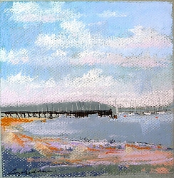 pastel | |Lake Pier, Poole Harbour #1 | © Copyright 2013 Roger Dell Seddon