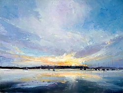 Oil |31cm x 41cm |Sunrise over Shore Road, Sandbanks, Poole | © Copyright 2017 Roger Dell Seddon