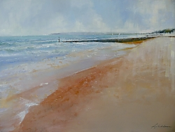 Oil on canvas |76cm x 102cm |Branksome Beach at the start of Spring | © Copyright 2017 Roger Dell Seddon