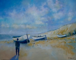 Oil |76 x 102 cm |Dunwich Beach, Suffolk | © Copyright 2017 Roger Dell Seddon