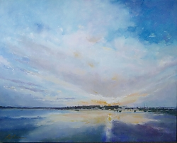 Oil on canvas |76cm x 102cm |Daybreak, Sandbanks, Poole Harbour | © Copyright 2017 Roger Dell Seddon