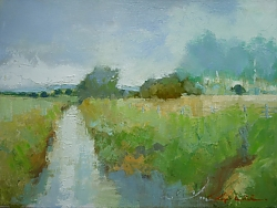oil on canvas panel |30cm x 41cm |River Allen Chalkstream, Wimborne | © Copyright 2019 Roger Dell Seddon