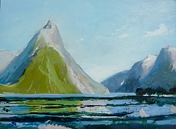 Oil on panel |30 x 41cm |Milford Sound | © Copyright 2019 Roger Dell Seddon