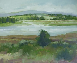 Oil on panel |25 x 30cm |Coombe Heath to the Purbeck Hills | © Copyright 2018 Roger Dell Seddon