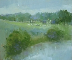 Oil on panel |26cm x 31cm |Riverside meadow with contented sheep | © Copyright 2019 Roger Dell Seddon