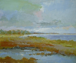 Oil on canvas board |26cm x 36cm |From Hengistbury Spit | © Copyright 2018 Roger Dell Seddon