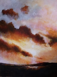 Oil on canvas |102cm x 76cm |Sky on Fire | © Copyright 2019 Roger Dell Seddon