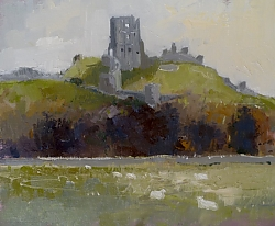 oil on canvas board |26cm x 31cm |Corfe Castle mid winter | © Copyright 2019 Roger Dell Seddon