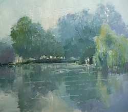 Oil on panel |26cm x 30cm |Lakeside at Pallington | © Copyright 2019 Roger Dell Seddon