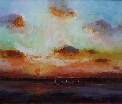 <h3>Poole Harbour sunset</h3>&nbsp;|&nbsp;&copy;&nbsp;Copyright&nbsp;2018&nbsp;Roger&nbsp;Dell&nbsp;Seddon&nbsp;|&nbsp;Oil on panel&nbsp;|30cm x 36cm
