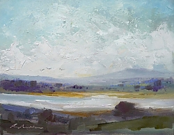 Oil on panel |21 x 26cm |Cool day and high tide, Middlebere Lake | © Copyright 2019 Roger Dell Seddon