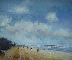 Oil on canvas board |26 x 31cm |A morning walk on Shell Beach | © Copyright 2019 Roger Dell Seddon