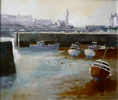 <h3>Early morning, the inner harbour, Porthleven, Cornwall</h3> | © Copyright 2020 Roger Dell Seddon | oil |